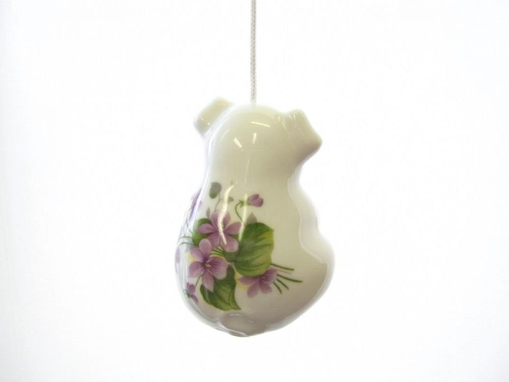 China Pig Cord Pull Violets Design Large 6 5cm Floral